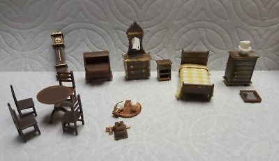 17 pc 1:48 Assorted Brown Plastic Furniture Dollhouse Miniature.