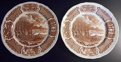 Set 2 Fair Winds Original Alfred Meakin Staffordshire England Salad Plate Copper