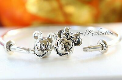 "Authentic Pandora Silver Mickey & Minnie Open Bangle 6.9"" (17.5cm) 597494"