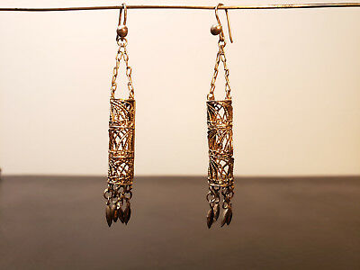 Pair of Vintage Sterling Silver Filigree Earrings Tubular Dangles Hooks