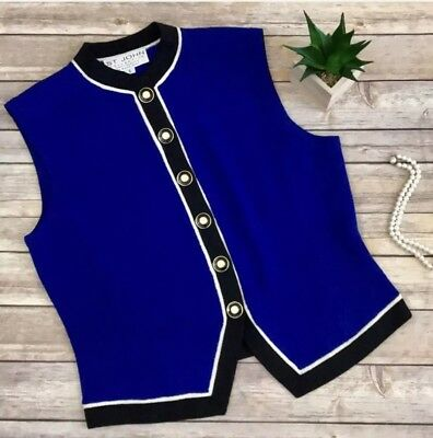 NWOT St. John Collection By Marie Gray Santana Knit Royal Blue Sweater Vest Sz S
