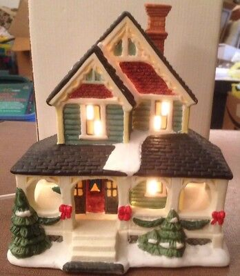 "Vintage 1996 Lighted Porcelain House 7-3/4"" High Chirstmas Ornament Hand Paint"