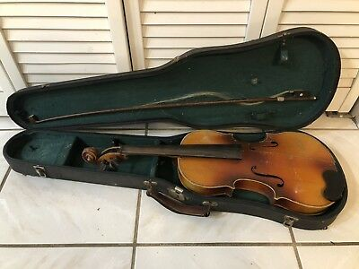 Antique Old Vintage Violin Unknown Maker Germany? Parts repair AS IS with case