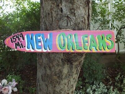 New Orleans Tropical Tiki Destination Directional Arrow Pool Island Pointer Sign