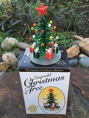 LS ARTS Venezia Art Glass Collection Emerald Christmas Tree w Box 4.5""