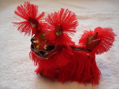1 CHINESE NEW YEAR LION DRAGON RED FRINGE HEAD, EARS & TAIL BOBBLE - Unique