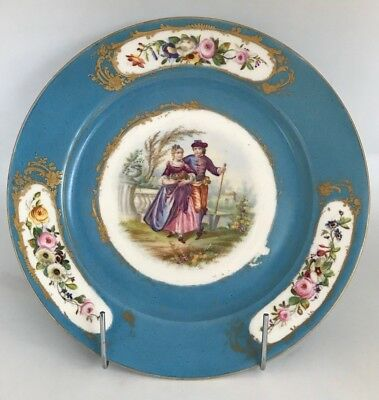 Sevres Antique Decorative Hand Painted Lovers Porcelain Plate 19th Century