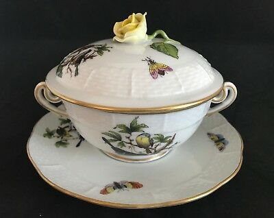 Herend Rothschild Hand Painted Bird Pattern Soup Cup & Saucer & Rose lid