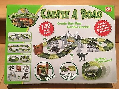 Dinosaur World Toy Car Track with 2 Cars create a Road