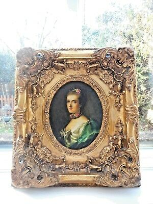"Antique 19Th Century Oil Painting And Ornate Frame ""carvers & Gilders"" Label"