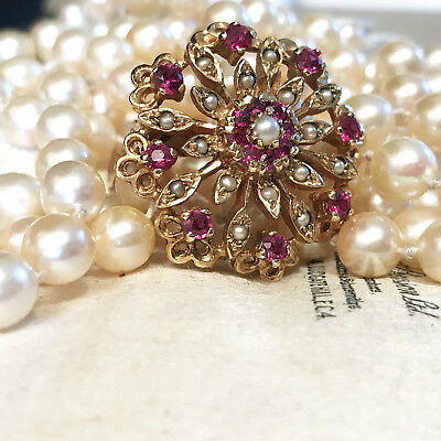 Vintage, Cultured Akoya Saltwater 6.5mm pearl necklace & 9ct ruby & Pearl clip