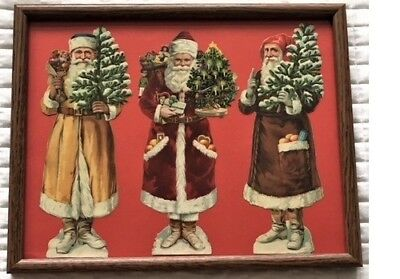 "Antique German DIE CUT LITHOGRAPHS - 3 SANTA CLAUS Figures (10 1/4""h each)"