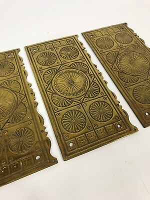 3 Antique Brass Door Finger Plates Pushes - Aesthetic Movement - Quality