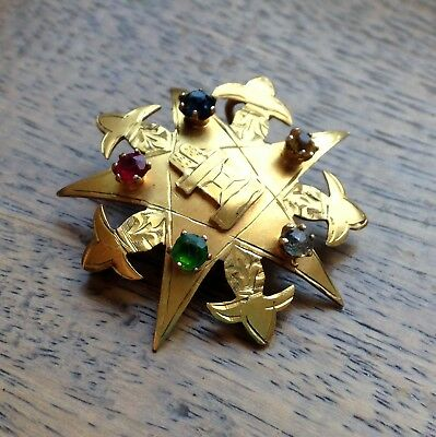 Very Rare Antique 9ct Gold Multi Gem Order of the Eastern Star Masonic Brooch
