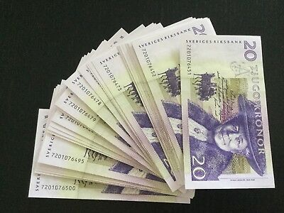 SWEDEN 20 KRONOR BANKNOTES 1997 UNC P-63a 50 PCS CONSECUTIVE NUMBERS
