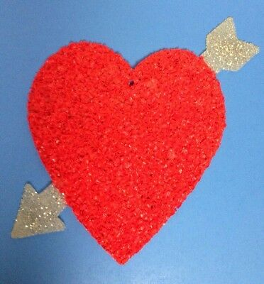 Vintage Melted Plastic Popcorn Valentine's Day Heart Arrow Love Decoration 17""