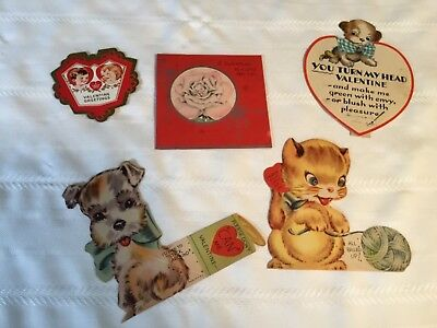 Lot of 5 Vintage 1930's Valentines Day  Greeting Cards