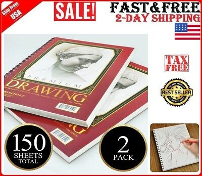 "2 PACK Sketchbook Drawing Artists Sketch Book Paper Pad 150 Sheets Total 9""x12"""