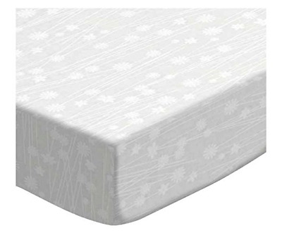 SheetWorld Fitted Portable / Mini Crib Sheet -  White on White Floral Stems