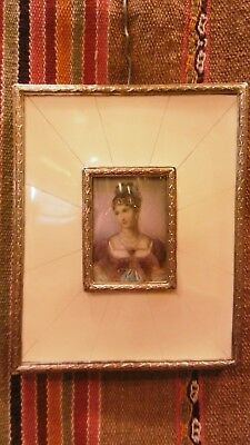 Great Antique hand painted miniature portrait painting woman lady bronze frame