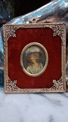 Delightful Antique hand painted miniature portrait painting lady bronze frame