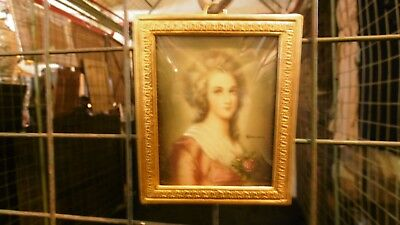 Antique hand painted miniature portrait painting woman lady bronze frame