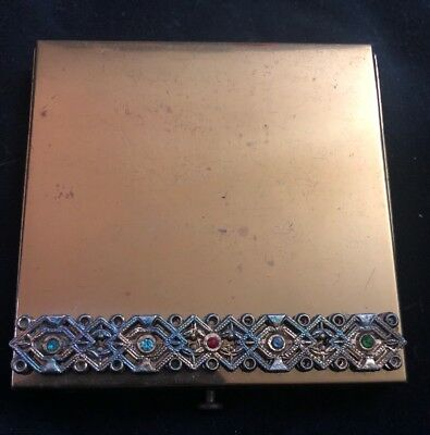 Rare Vintage Columbia Fifth Ave Gold Compact With Rhinestones