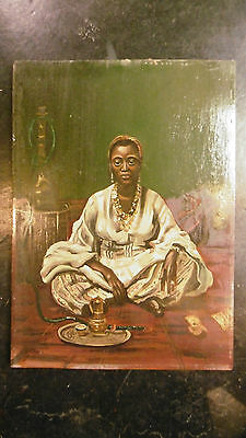 Amazing Antique painting oil on wood seated Arab black woman signed