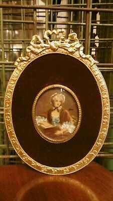 Lovely Antique hand painted miniature portrait painting woman gilt  bronze frame