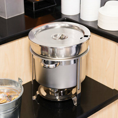Choice 11 Qt. Deluxe Chrome Accent Marmite Stainless Steel Silver Soup Chafer