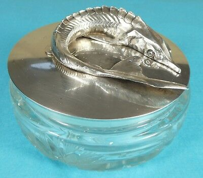 Stunning Russian Sterling Silver Caviar Dish Sturgeon Fish Grachev Brothers 1895