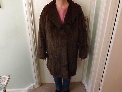 Genuine Vintage Real Mink Fur Jacket Coat Mahogany size 12-14