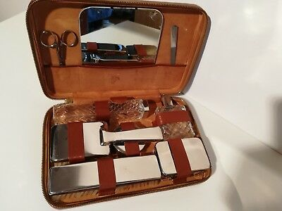 Toelette Set Beauty Case Uomo Vintage '60 Pelle Pure Steel