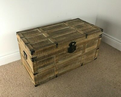 *Factory Second* 72cm Lightweight Wooden Trunk  RUSTIC SAWN TIMBER Vintage Chest