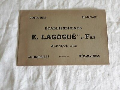 S290 ANCIEN CATALOGUE VOITURES LAGOGUE (DEBUT XXeme)