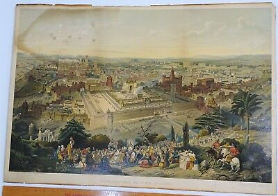 SUPER RARE Lithograph Print- Jerusalem 1903 by Palestine Art League Buffalo NY