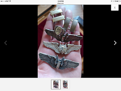 Original WWII Sterling Gunner Wings 3 Inch Pin Back Bottom Set