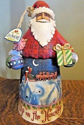 "JIM SHORE 2008 "" Up On The Housetop"" Santa Figurine 10.5"""