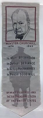Winston Churchill 1874-1965 Silk Label Bookmark Woven By American Silk Label Mfg