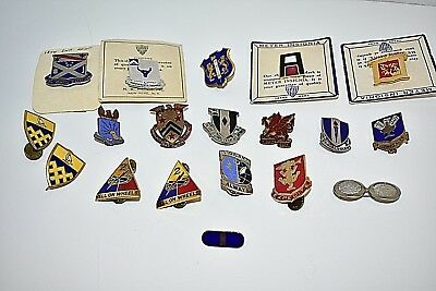 WWII US Army Infantry Division Air Corps DUI DI Crest Insignia Pin PLUS Lot 19