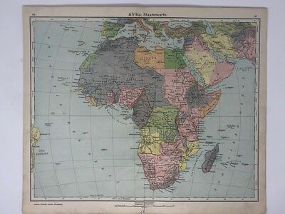 Antique German map of Africa from 1930 with vibrant colouring -  bigger than A3