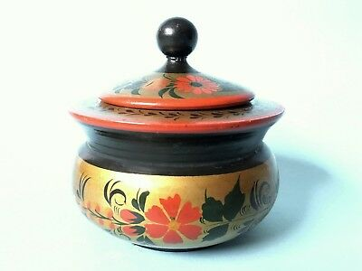 Vintage Russian Folk Hand Painted Wooden Trinket Box Spices Sugar Bowl With Lid