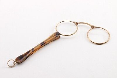 Antique Victorian French 14K gold lorgnette opera glasses, fully functional.