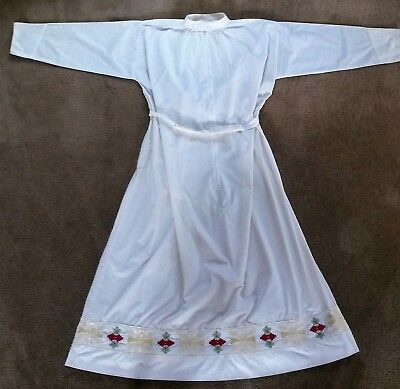 PRIEST'S ALB XL Extra Large with Embroidery Abbey Brand White EUC