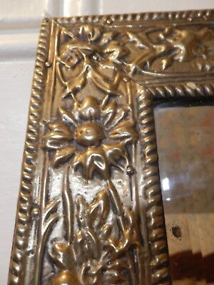 Arts & Crafts made in Glasgow Repousse Rectangular Wall Mirror, 38.5 x 33 cm