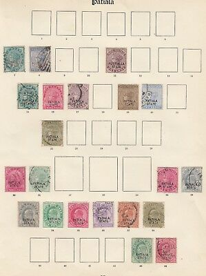 Patiala Puttialla ` stamp selection on 2 pages - mounted mint & used