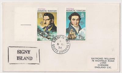 British Antarctic Terr. 1974 with 2 stamps, SIGNY ISLAND cancel to UK