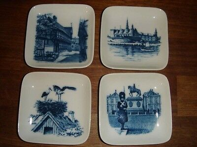 4 x Small dishes / Wall Plaques by  Royal Copenhagen, Denmark. Factory First