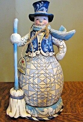 "JIM SHORE 2010 "" Sweep Away The Winter Blues"" Snowman Figurine 10"""