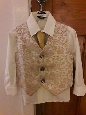 Boys Gold Waistcoat, tie and cream shirt